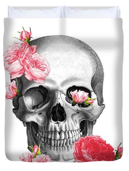 Skull With Pink Roses Framed Art Print Duvet Cover