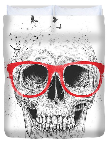 Skull With Red Glasses Duvet Cover