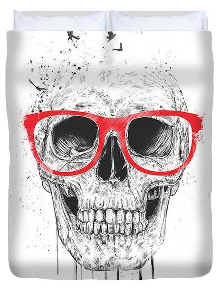 Skull With Red Glasses Duvet Cover