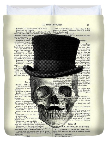 Skull With Top Hat And Moustache Duvet Cover