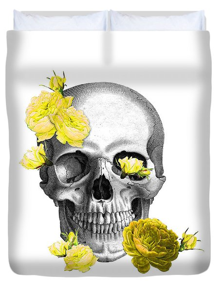 Skull Yellow Roses Duvet Cover