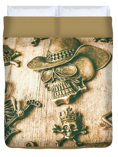 Skulls And Pieces Duvet Cover