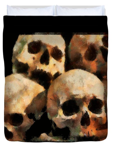 Duvet Cover featuring the digital art Skulls by Charmaine Zoe