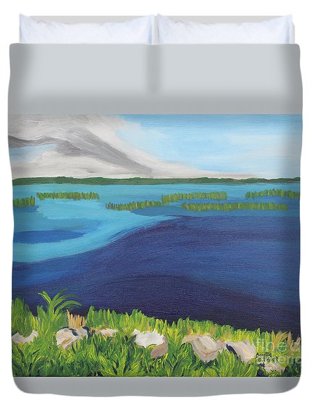 Serene Blue Lake Duvet Cover