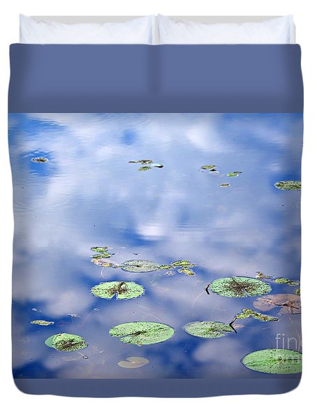 Duvet Cover featuring the photograph Sky And The Lily Pads by Lila Fisher-Wenzel