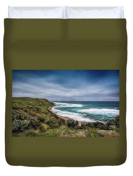 Duvet Cover featuring the photograph Sky Blue Coast by Perry Webster