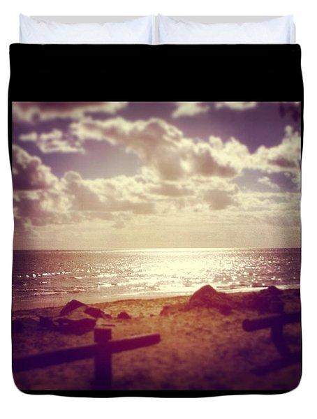 #sky #clouds #beach #beautiful Duvet Cover
