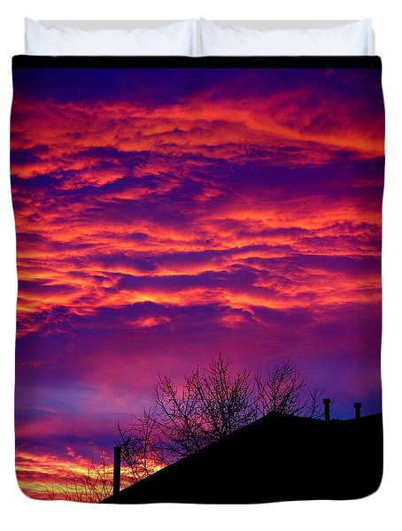 Duvet Cover featuring the photograph Sky Drama by Valentino Visentini