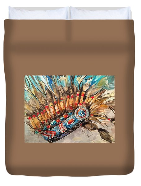 Sky Feather Detail Duvet Cover