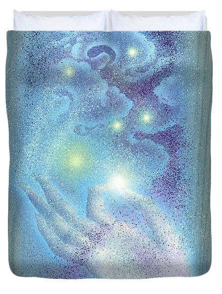 Duvet Cover featuring the painting Sky Mudra by Ragen Mendenhall