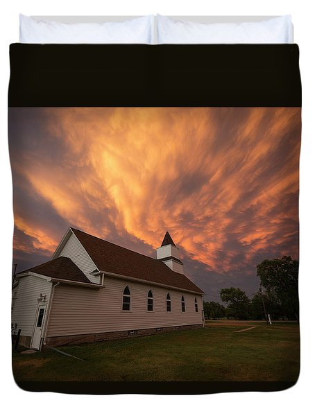 Duvet Cover featuring the photograph Sky Of Fire by Aaron J Groen