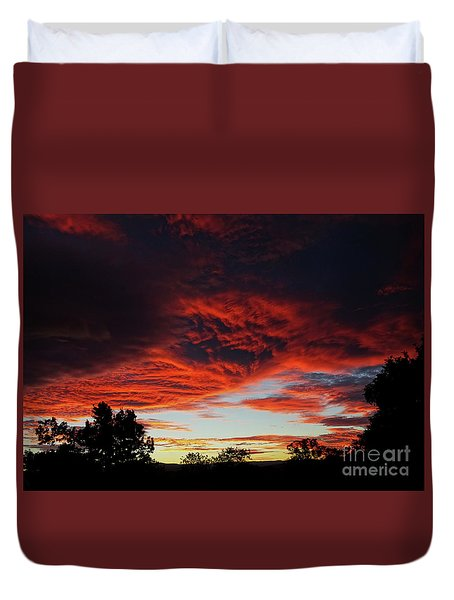 Duvet Cover featuring the photograph Sky On Fire by Angela DeFrias