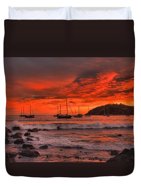 Duvet Cover featuring the photograph Sky On Fire by Jim Walls PhotoArtist