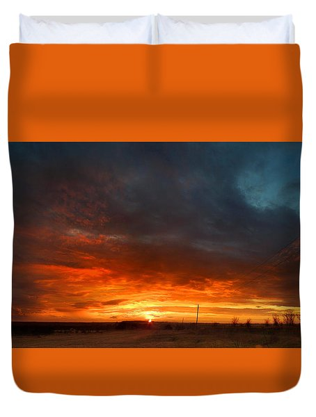 Sky On Fire Duvet Cover by Rod Seel