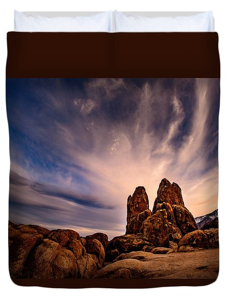 Duvet Cover featuring the photograph Sky Over Alabama Hills by Janis Knight