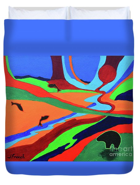 Duvet Cover featuring the painting Sky Rivers by Jeanette French