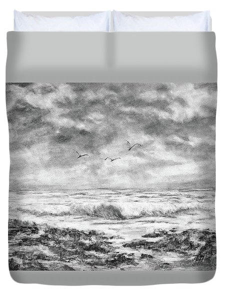 Sky Rocks And Water Duvet Cover