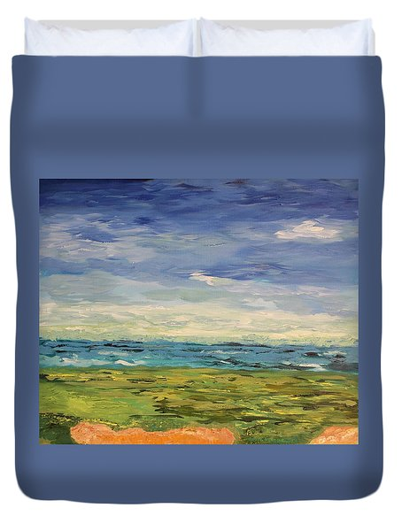 Sky, Sea And Golf  Duvet Cover by Geeta Biswas