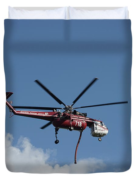 Duvet Cover featuring the photograph Skycrane Works The Red Canyon Fire by Bill Gabbert