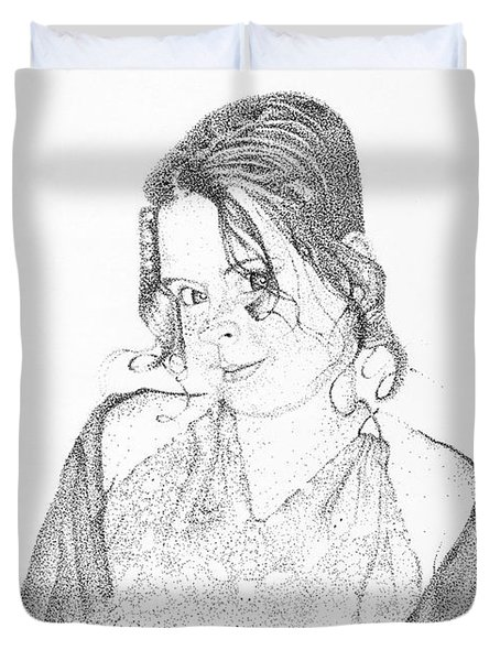 Duvet Cover featuring the drawing Skye by Mayhem Mediums