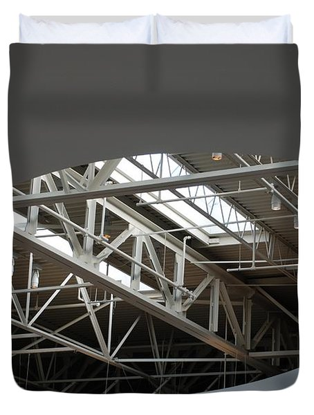 Duvet Cover featuring the photograph Skylight Gurders by Rob Hans