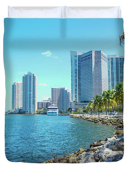 Skyline And Bayfront Park, Miami, Florida Duvet Cover