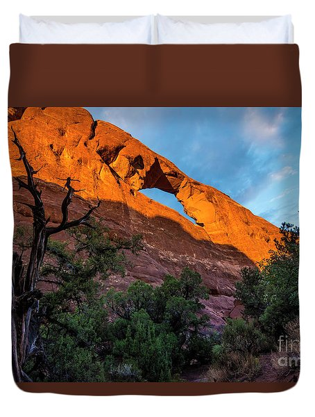 Duvet Cover featuring the photograph Skyline Arch At Sunset - Arches National Park - Utah by Gary Whitton