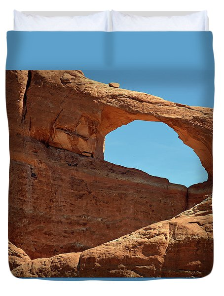 Duvet Cover featuring the photograph Skyline Arch In Utah by Bruce Gourley
