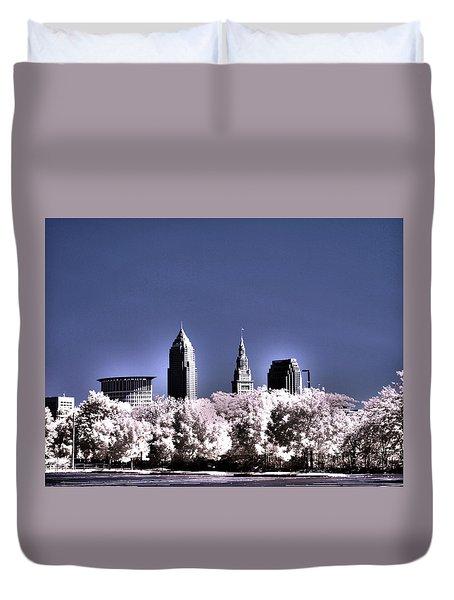 Skyline Cleveland, Ohio Duvet Cover by Bob LaForce