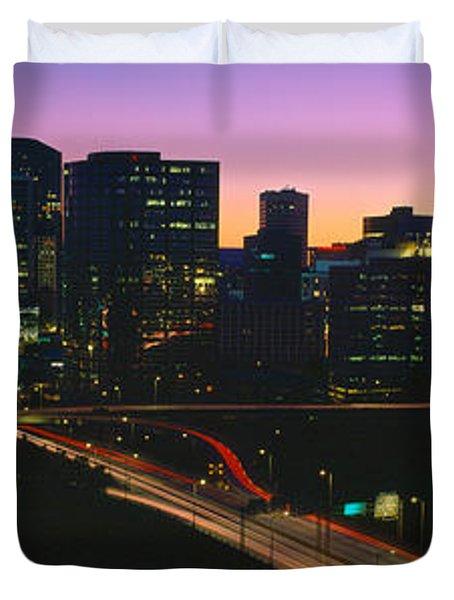 Skyline, Hartford, Sunset, Connecticut Duvet Cover