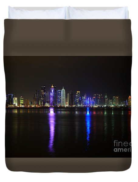 Skyline Of Doha, Qatar At Night Duvet Cover