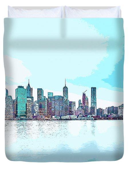 Skyline Of New York City, United States In Blues Duvet Cover