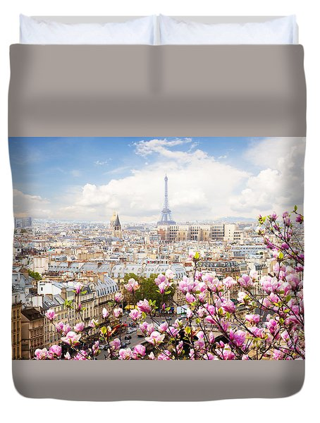 skyline of Paris with eiffel tower Duvet Cover