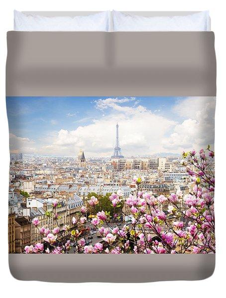 skyline of Paris with eiffel tower Duvet Cover by Anastasy Yarmolovich