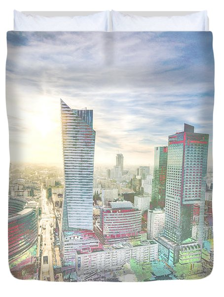 Skyline Of Warsaw Poland Duvet Cover