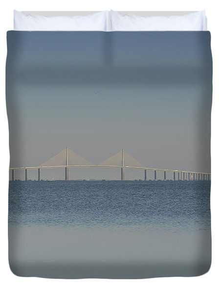 Skyway Bridge In Blue Duvet Cover by David Lee Thompson