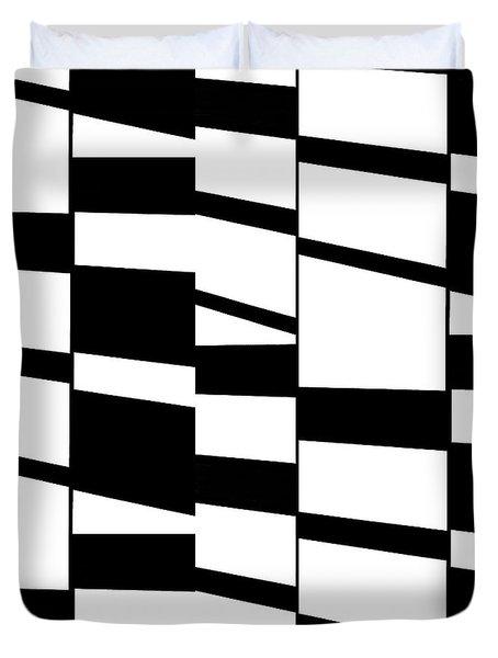 Slanting Rectangles - Black And White Graphic Art Duvet Cover