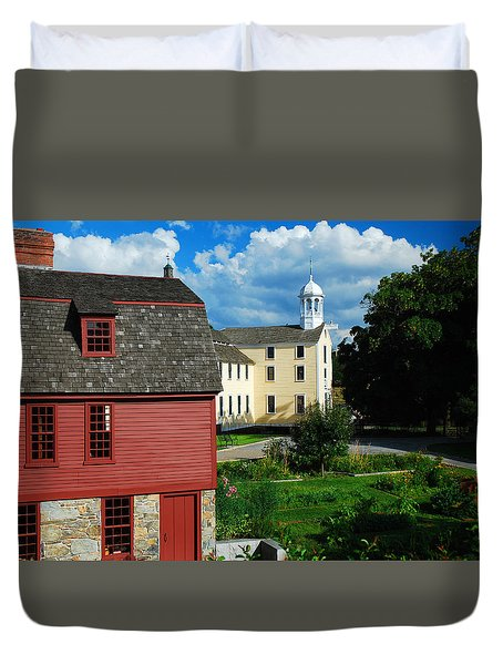 Duvet Cover featuring the photograph Slater Mills by James Kirkikis
