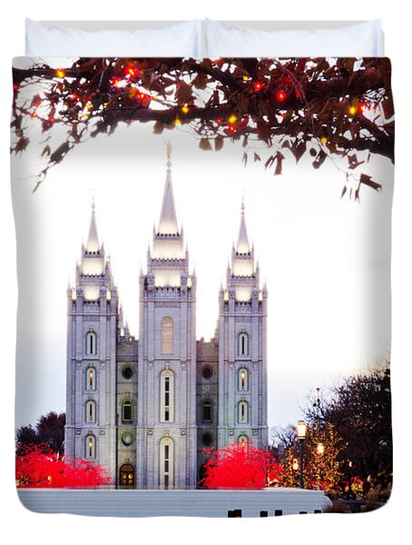 Slc Temple Red And White Duvet Cover by La Rae  Roberts