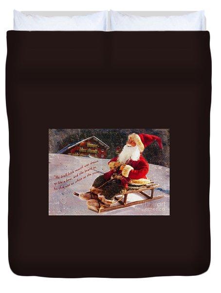 Sledding Santa Card 2015 Duvet Cover