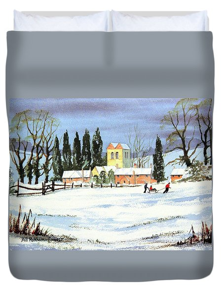 Sledding With Dad Duvet Cover by Bill Holkham
