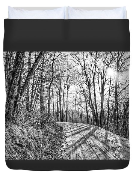 Duvet Cover featuring the photograph Sleep Hallow Road by Dan Traun