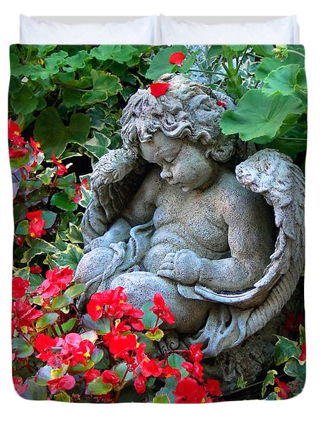 Sleeping Angel Duvet Cover by Sue Melvin