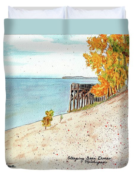 Sleeping Bear Dunes, Sand Dunes, Dune Paintings, Sandy Beaches, Lake Michigan Shoreline Duvet Cover