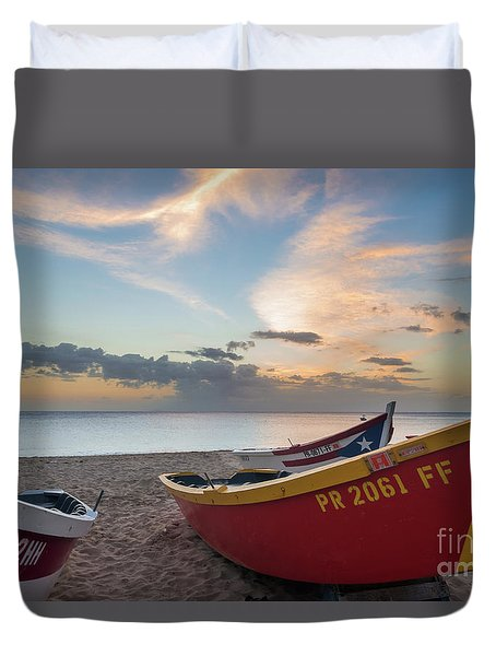 Sleeping Boats On The Beach Duvet Cover