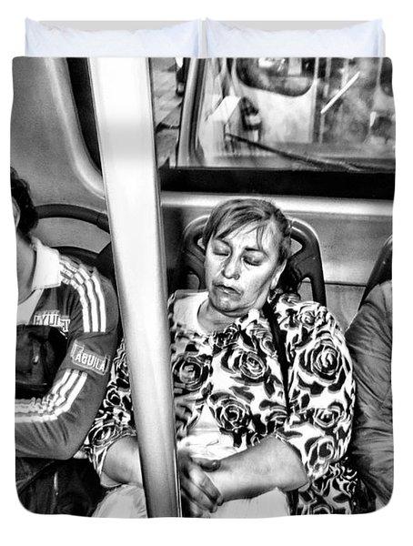 Sleeping Bus Riders Duvet Cover
