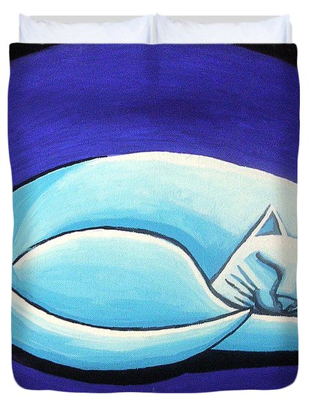 Sleeping Cat Duvet Cover by Genevieve Esson