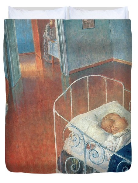 Sleeping Child Duvet Cover by Kuzma Sergeevich Petrov Vodkin