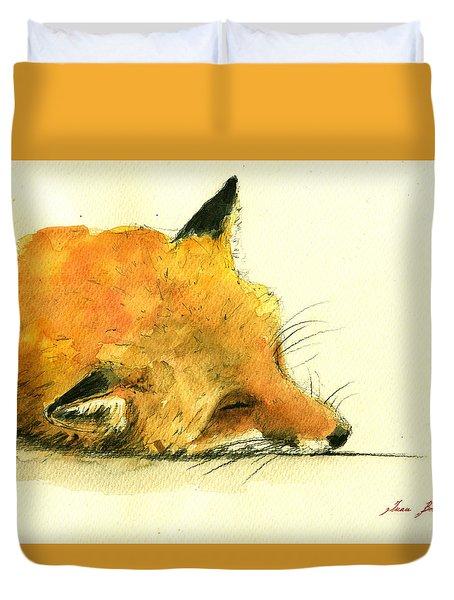 Sleeping Fox Duvet Cover by Juan  Bosco