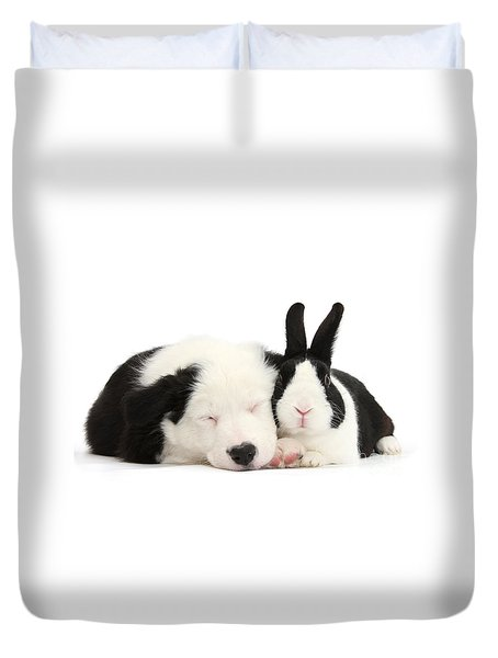 Sleeping In Black And White Duvet Cover